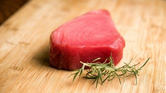 raw Ahi Tuna on a cutting board